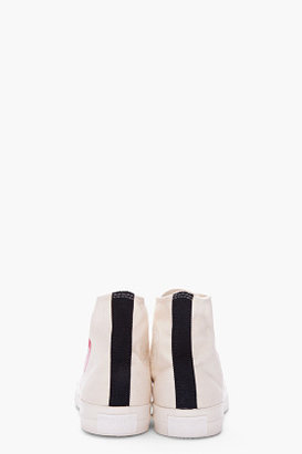 Comme des Garcons Cream High-top Canvas Sneakers