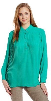 Chaus Women's Long Sleeve Pleat Front Blouse