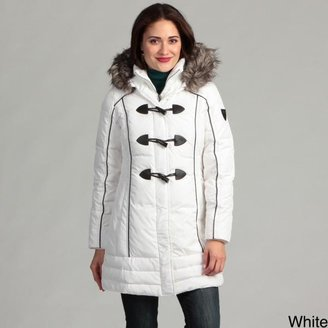 Miss Sixty Women's 3/4-toggle Knit Bibby Faux Fur Hooded Coat $55.99 thestylecure.com