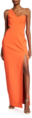 Aidan Mattox One-Shoulder Side Cutout Crepe Column Gown