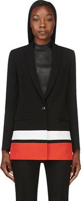 Givenchy Black & Red Striped Long Blazer