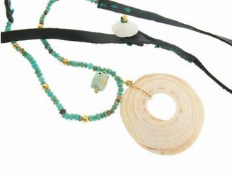 Renee Garvey Kwali Shell Pendant with Antique Turquoise Beads on Black Leather