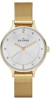 Skagen 'Anita' Crystal Index Mesh Strap Watch, 30mm $145 thestylecure.com