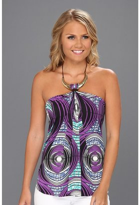 T-Bags Tbags Los Angeles - Halter Top w/ Crescent Gold Leather Strap (EM9 Print) - Apparel