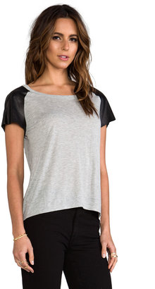 Enza Costa Leather Sleeve Raglan Tee