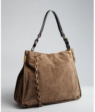 Lanvin olive snakeskin print leather and patent shoulder strap bag