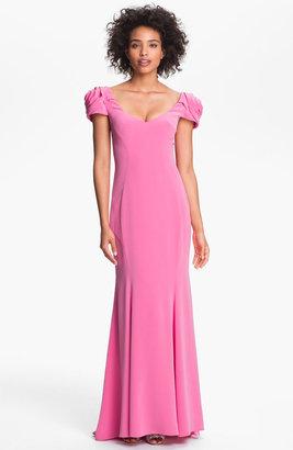 ABS by Allen Schwartz Rosette Shoulder Gown