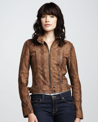 WGACA What Goes Around Comes Around Blaze Snake-Print Leather Jacket