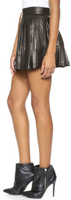 Alice + Olivia Box Pleat Leather Skirt