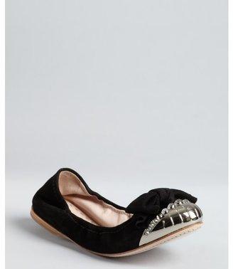 Miu Miu black suede metal cap toe ballet flats