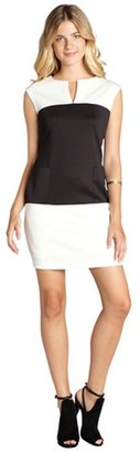 SD Collection ivory and black colorblocked pocketed v-neck dress