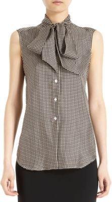 Barneys New York Printed Tie Neck Sleeveless Blouse