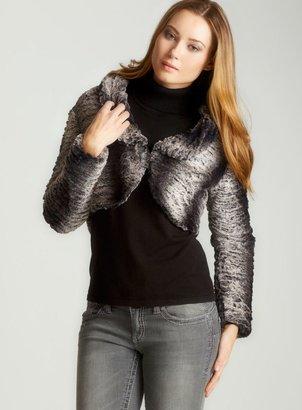 Love Stitch Cropped Faux Fur Jacket