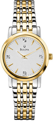 Bulova Women's Diamond Accent Two-Tone Stainless Steel Bracelet Watch 30mm 98P115 $299 thestylecure.com