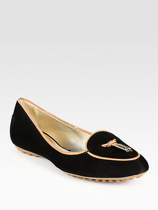 Tod's Suede Leather-Trimmed Loafers