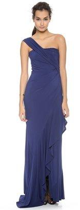 Donna Karan One Shoulder Cascade Evening Dress