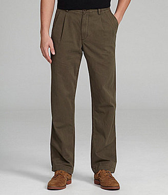 Roundtree & Yorke Casuals Pleated Cotton Blend Chino Pants