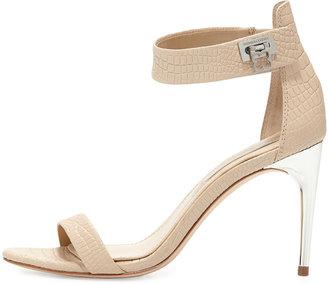 BCBGMAXAZRIA Polaris Croc-Embossed Ankle-Strap Sandal, Parfait