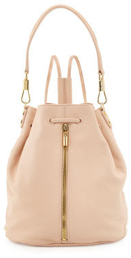 Elizabeth and James Cynnie Leather Drawstring Backpack, Champagne