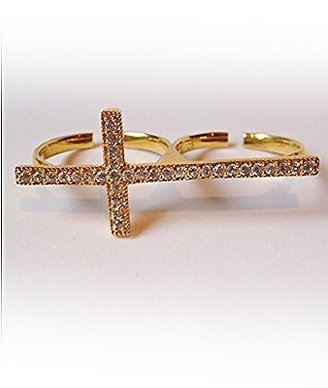 Natalie B Turkish Cross Pave Ring in Gold