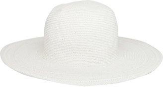 San Diego Hat Company San Diego Hat Women's Cotton Crochet 4 Inch Brim Floppy Hat White One Size