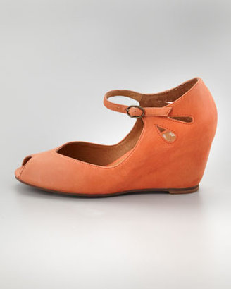 Jeffrey Campbell Regina Peep-Toe Wedge, Orange