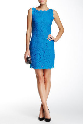 Adrianna Papell Boatneck Lace Sheath Dress (Petite Size) $145 thestylecure.com