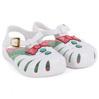Mini Melissa White Mini Aranha Bow Sandals