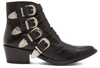 Toga Buckle Leather Ankle Boots - Black