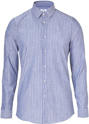 Jil Sander Blue/White Striped Cotton-Linen Shirt