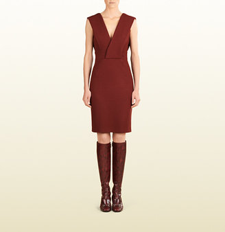 Gucci Cross-Over Sleeveless Wool Dress
