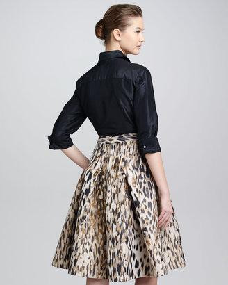 Carolina Herrera Animal-Print Jacquard A-Line Skirt