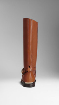 Burberry Buckle Detail Leather Boots