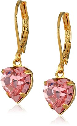 1928 Jewelry Gold-Tone Pink Genuine Swarovski Crystal Heart Drop Earrings