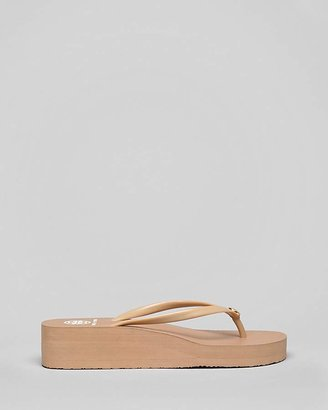 Tory Burch Thin Wedge Logo Flip-Flops