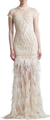Naeem Khan Beaded Embroidered Feather Skirt Gown