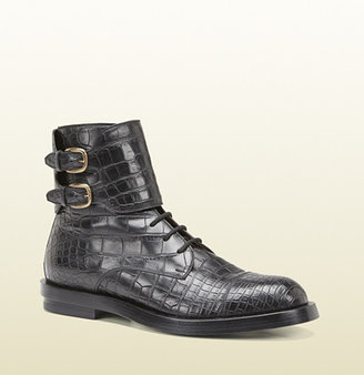 Gucci Black Crocodile Double Buckle Military Boot