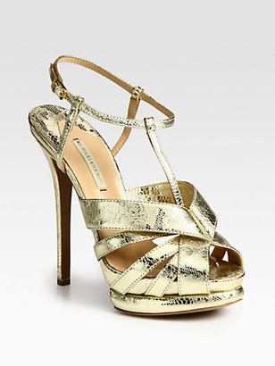 Nicholas Kirkwood Lace-Print Metallic Leather Platform Sandals