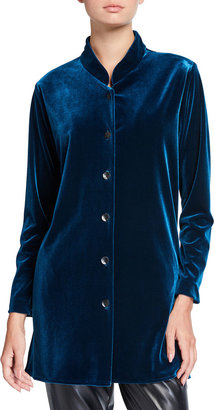 Caroline Rose Petite Stretch Velvet Button Front Shirt