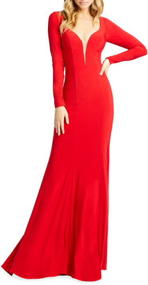 Mac Duggal Queen Anne Long-Sleeve Jersey Sheath Gown