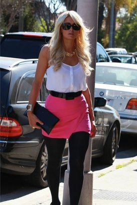 Naven Layered Skinny Mini Skirt in Pop Pink