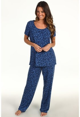 Karen Neuburger S/S Pullover Long Pant (Scroll Slate Blue) - Apparel