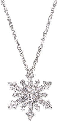 Diamond Snowflake Pendant Necklace in Sterling Silver (1/4 ct. t.w.)