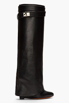 Givenchy Black Leather Shark Lock Wedge Boots