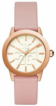 Tory Burch Womens Three-Hand Gigi Rose Goldtone and Blush Pink Leather Watch