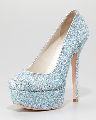 Alice + Olivia Larimore Glitter Platform Pump, Silver/Blue