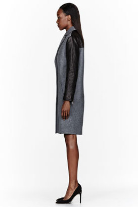 Cédric Charlier Grey Leather-Trimmed Coat