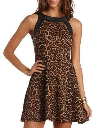 Charlotte Russe Leopard Print PU Skater Dress