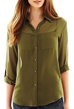 JCPenney Decree® Long-Sleeve Button-Front Shirt