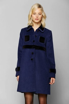 Urban Outfitters Pins And Needles Doll Velvet-Trim Coat
